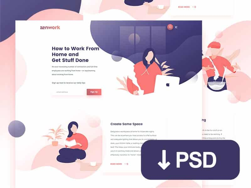 Remote jobs website template PSD