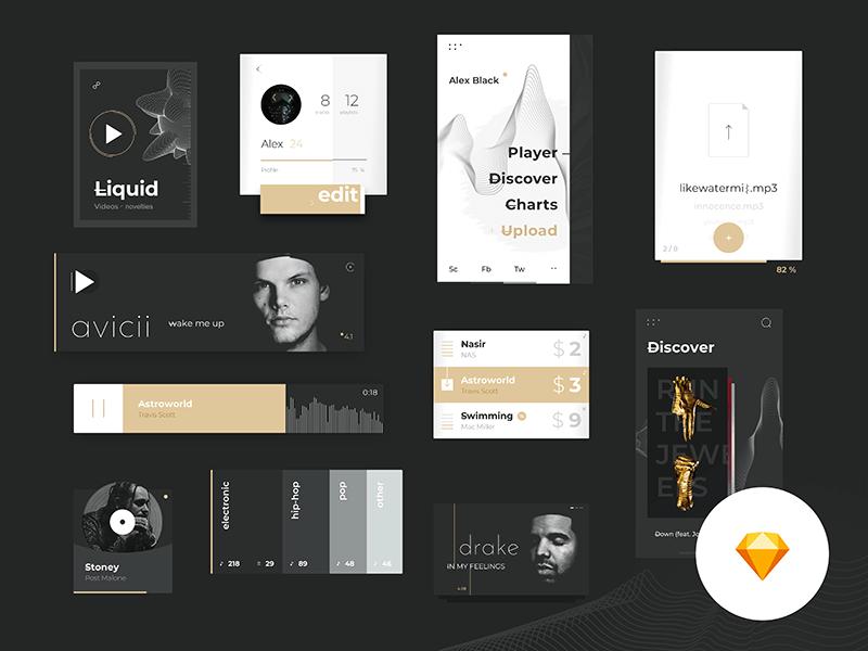 Music Platform Ui Kit Sketchapp