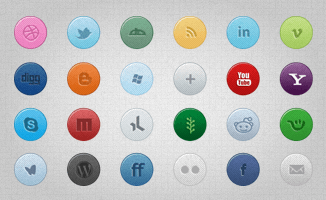 26 Colorful Social Media Icons(PSD)
