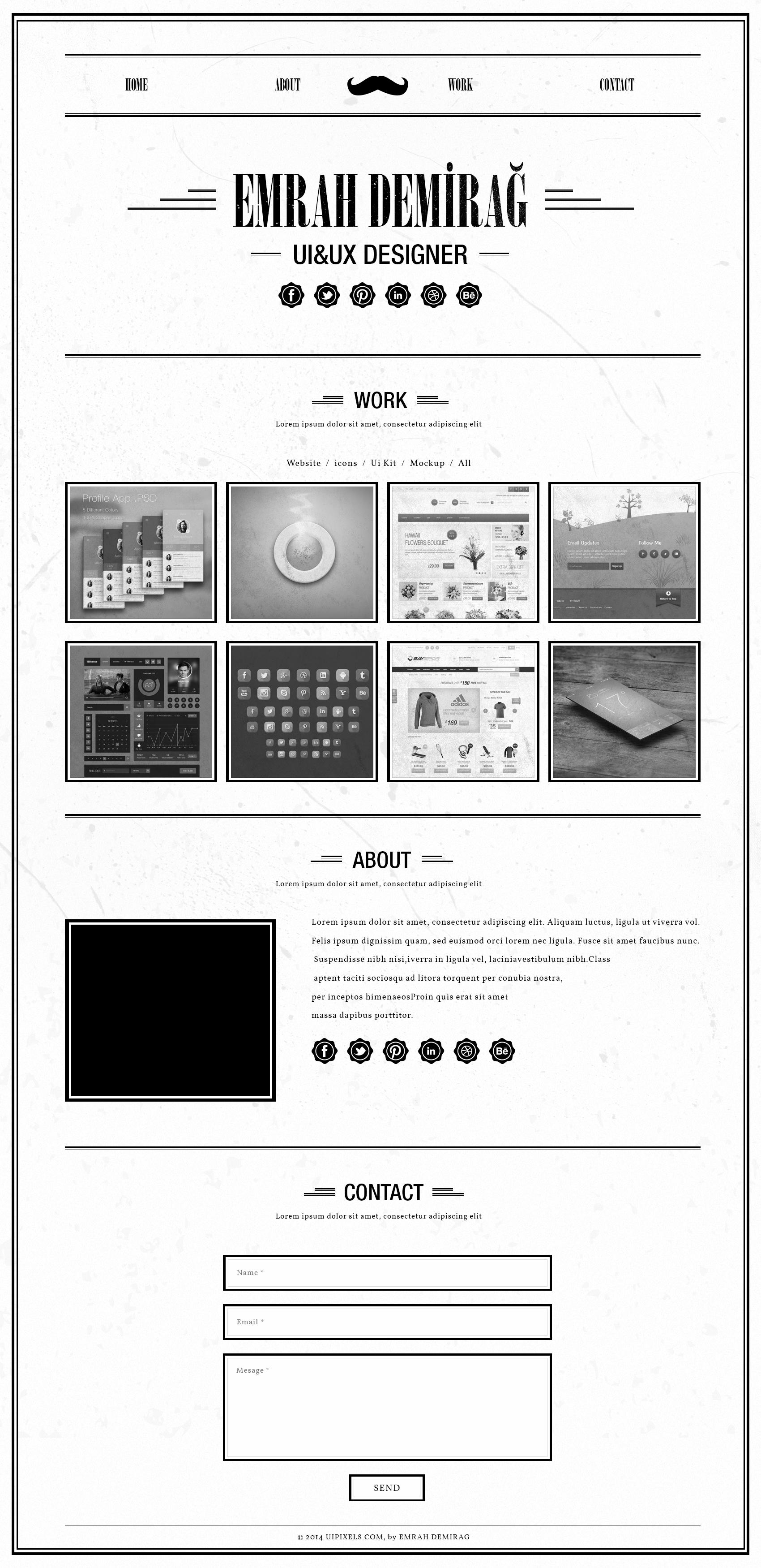 retro single page portfolio template psd
