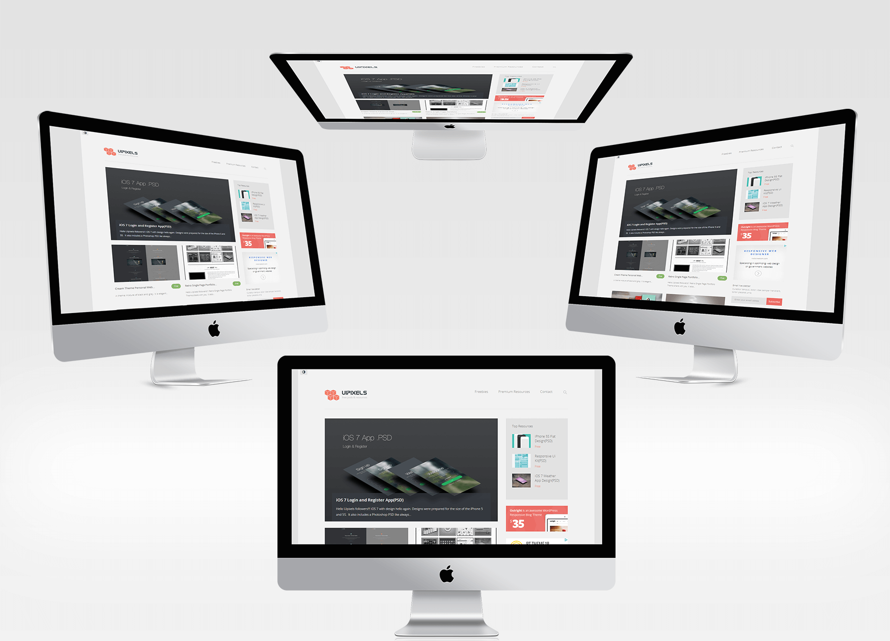 4 New iMac Mockups Set(PSD)