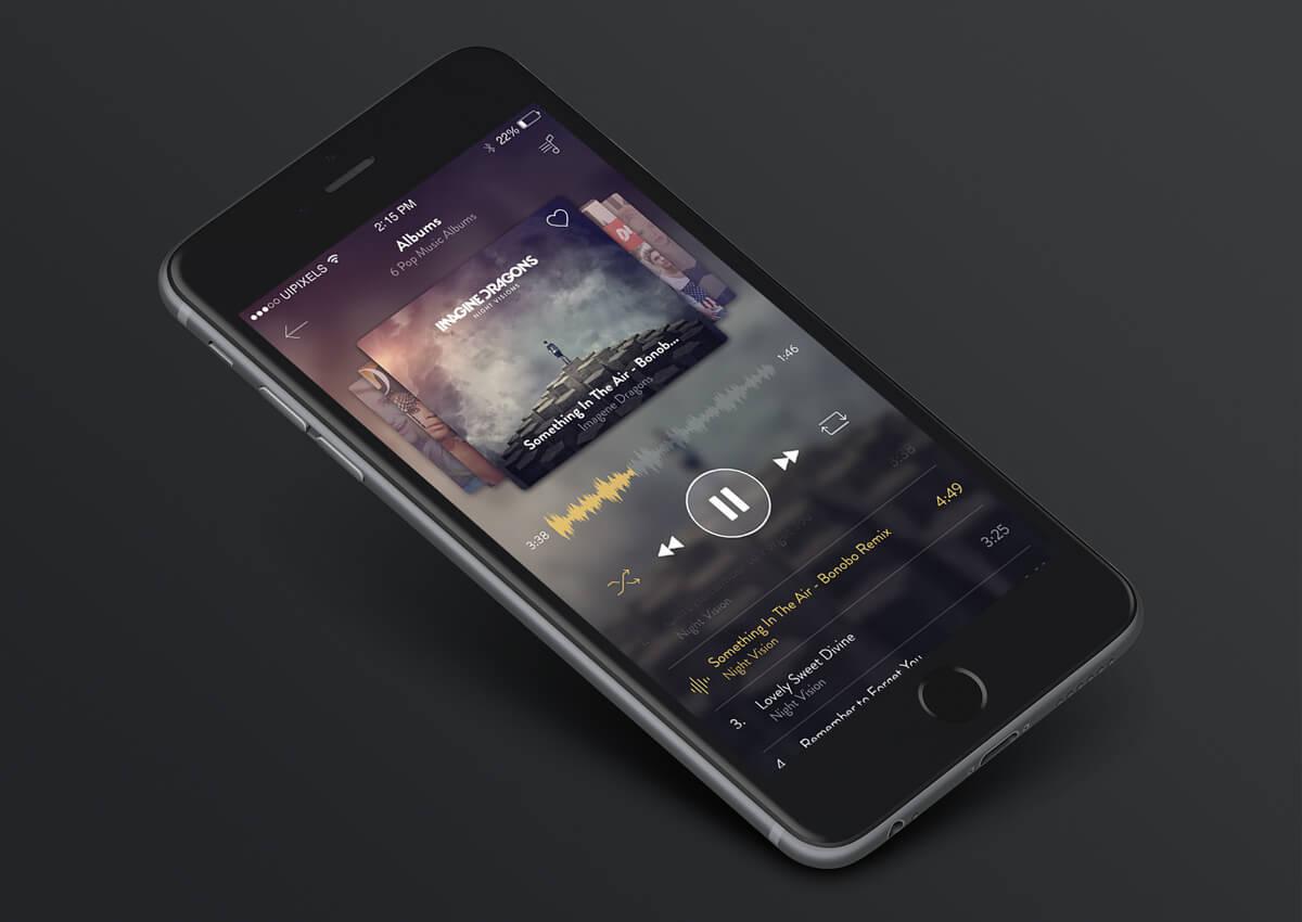 iphone 6 music app design psd. Black Bedroom Furniture Sets. Home Design Ideas