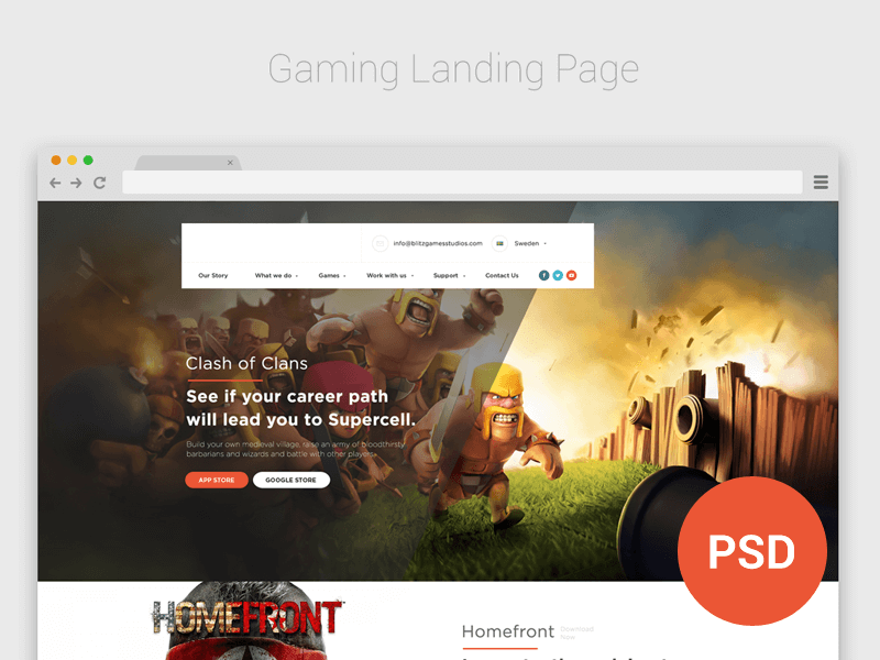 Game Studio Landing Page Design Free
