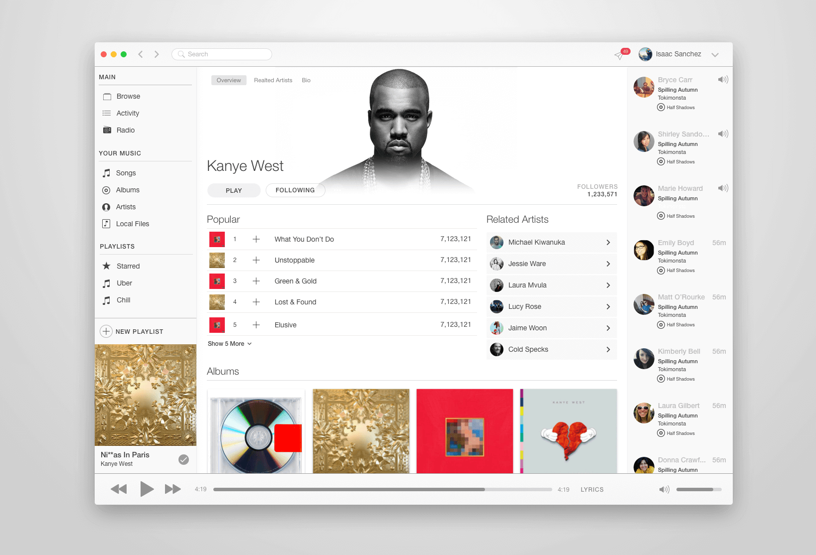 Desktop Music App Design