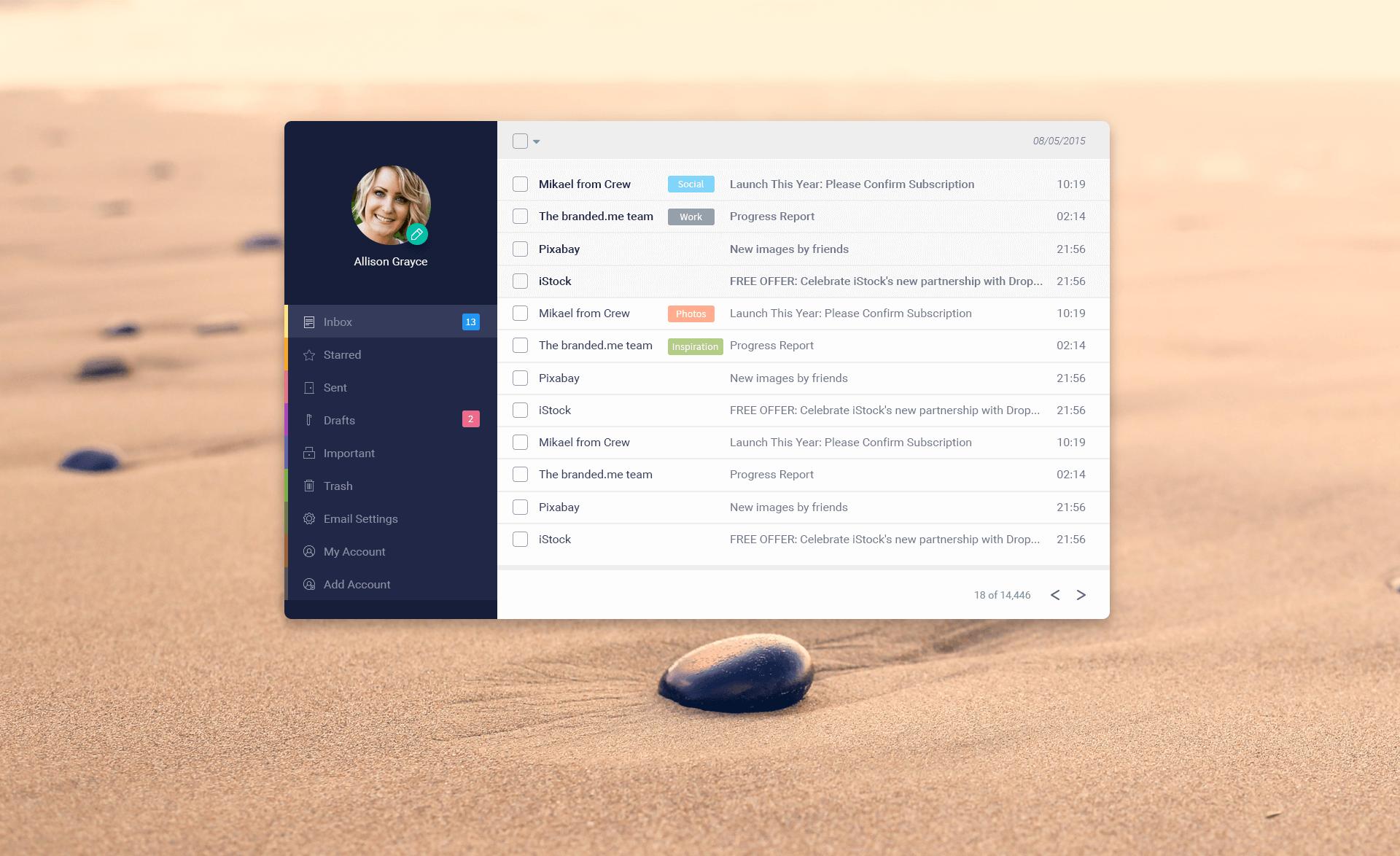 Email App Design(PSD)
