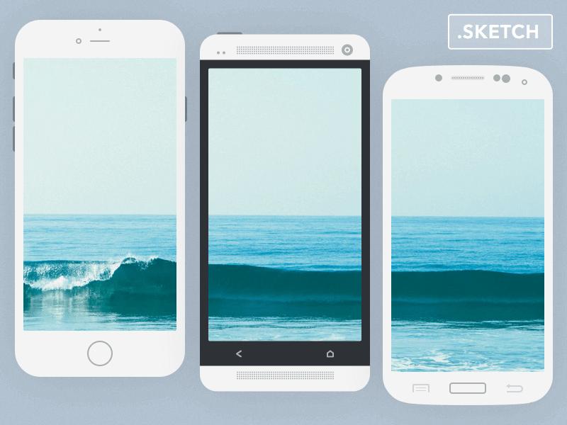 Flat Mockup Phones Sketch