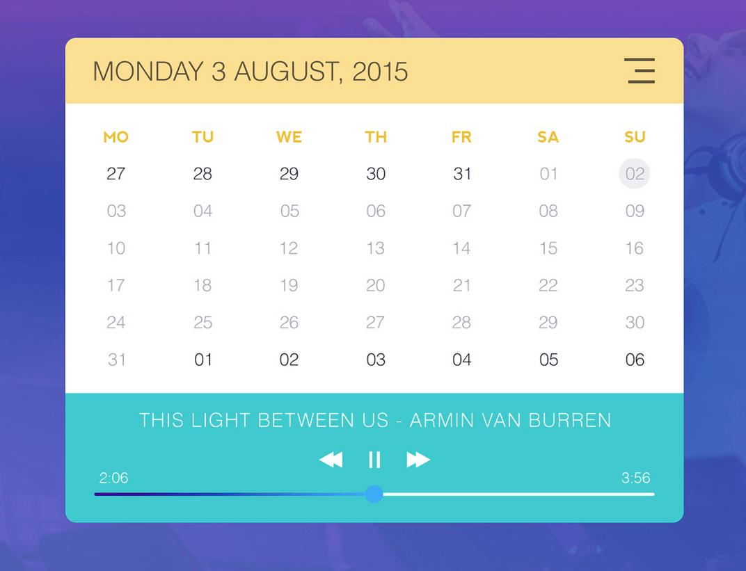 Calendar & Music Player Widget PSD