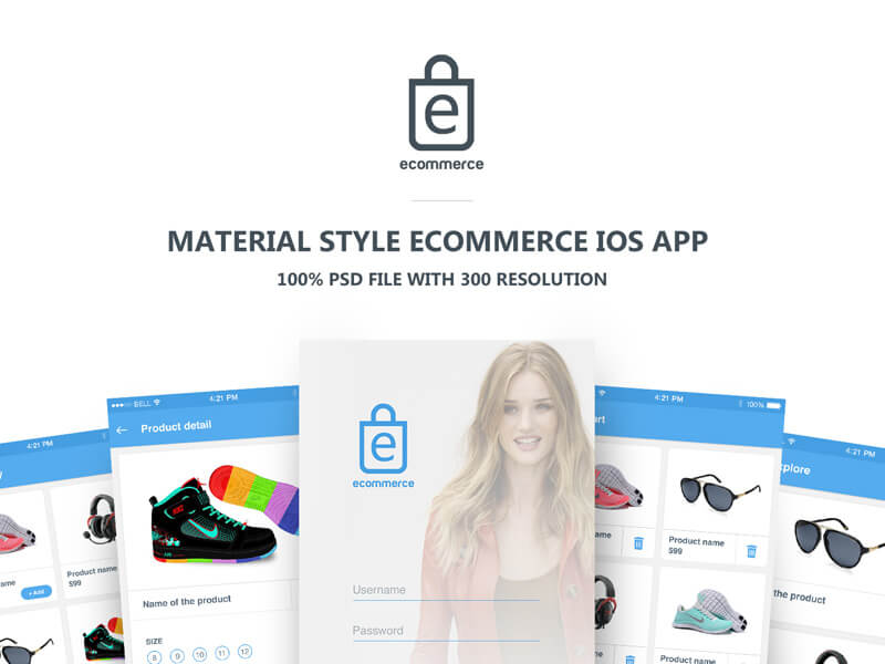 Material ecommerce ios app design