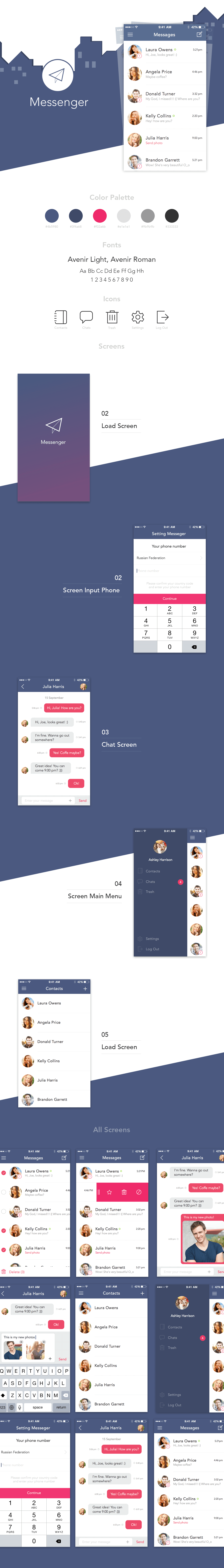 Messenger ios app Sketch