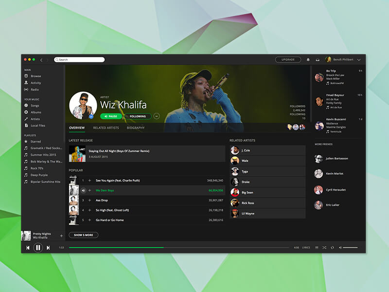Spotify App Design Sketch