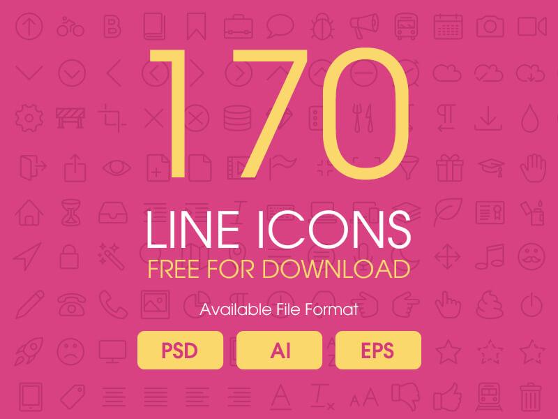 170 Line icons psd,ai,eps