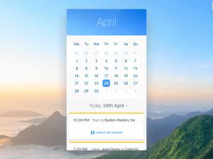 Calendar Ui app Sketch