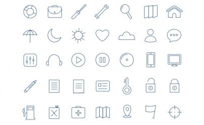 Thin icon set