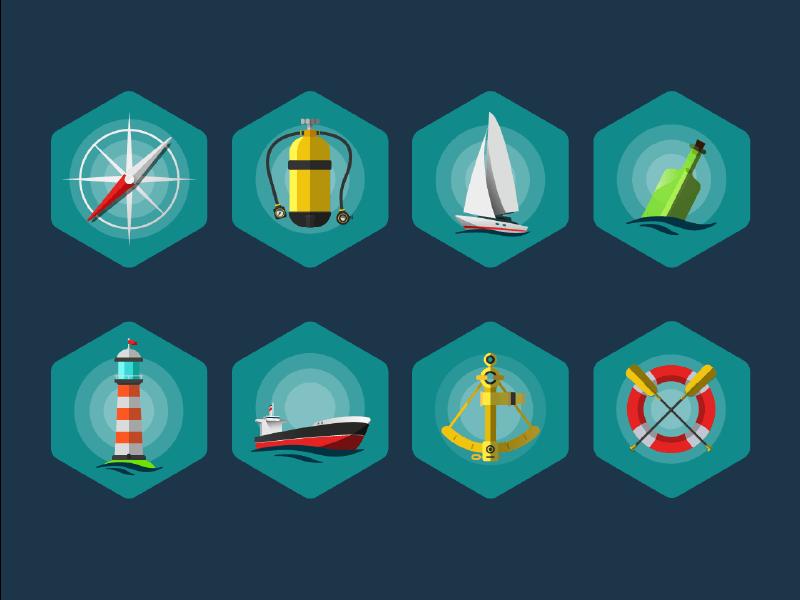 Sea Icon set EPS