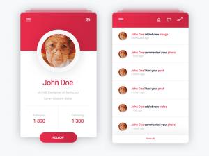 Profile & Notifications app design