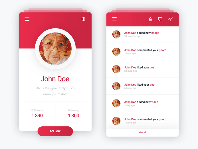 Profile & Notifications app design