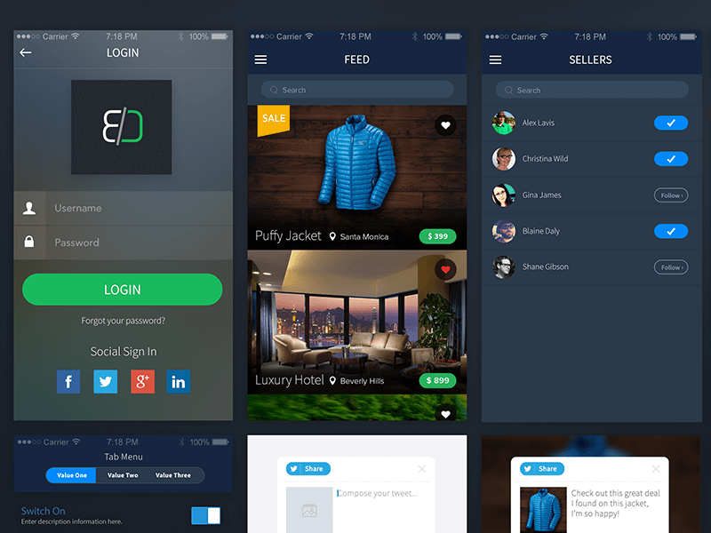 Sales App Psd Design