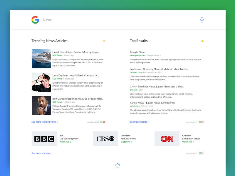 Google search news PSD