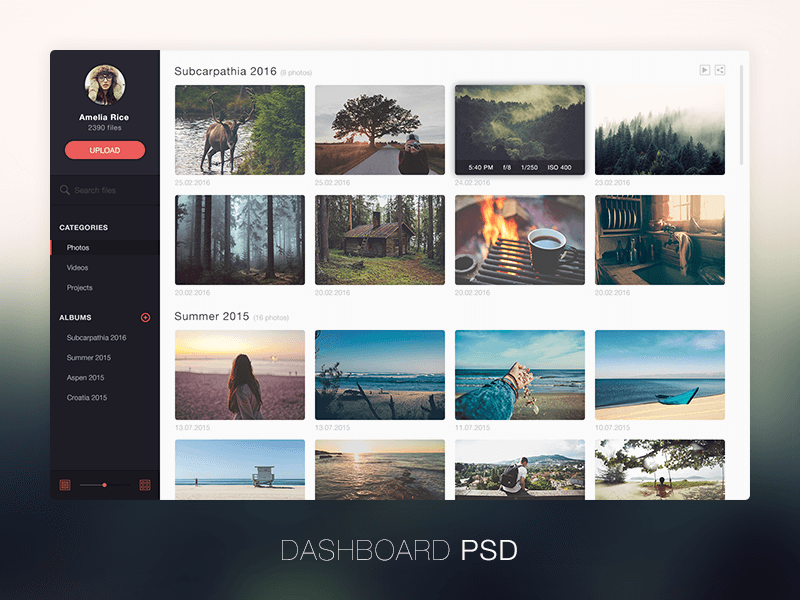 Photo management design PSD