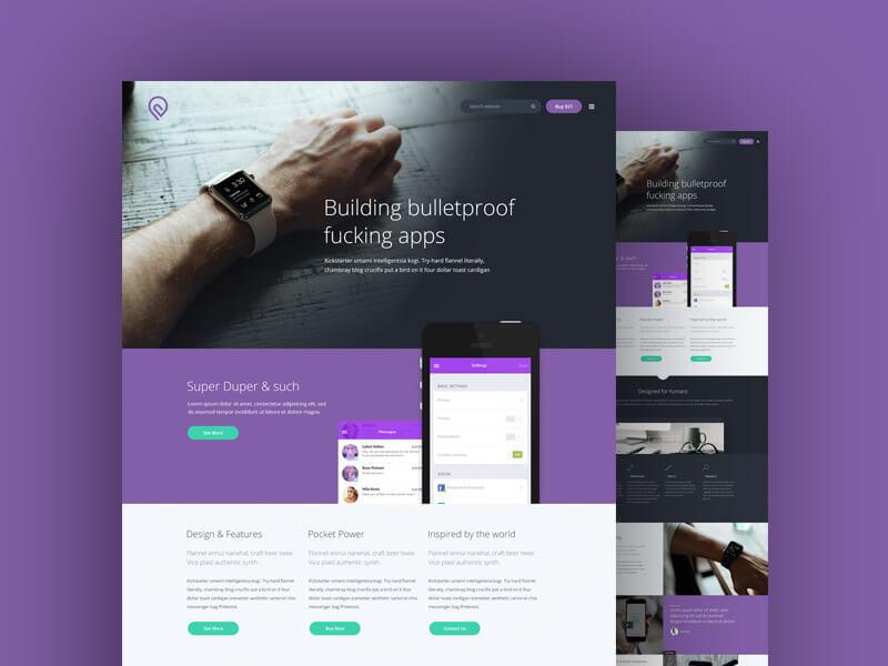 Purple Website Template PSD