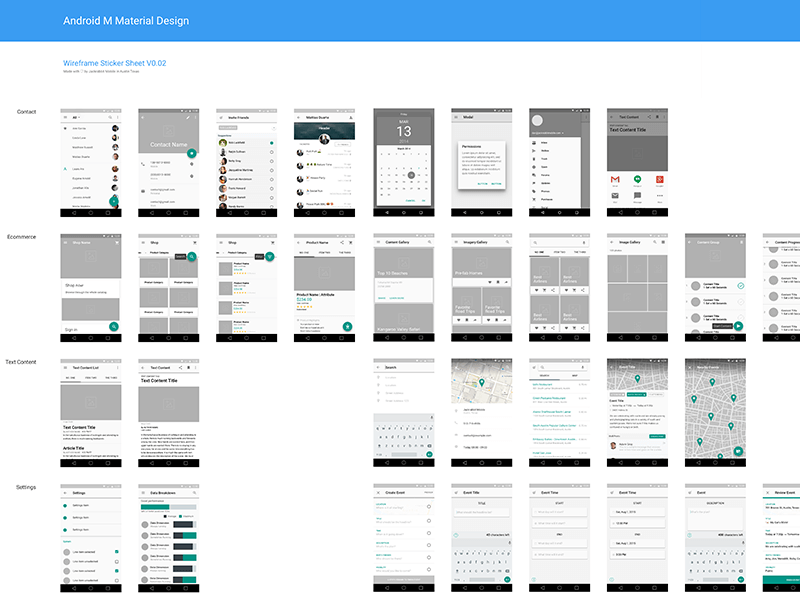 Material Design Wireframe Ui Kit Sketch