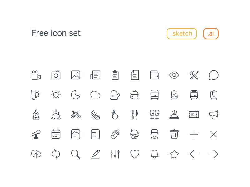 20×20 Free Line Icon set Sketch and Ai.