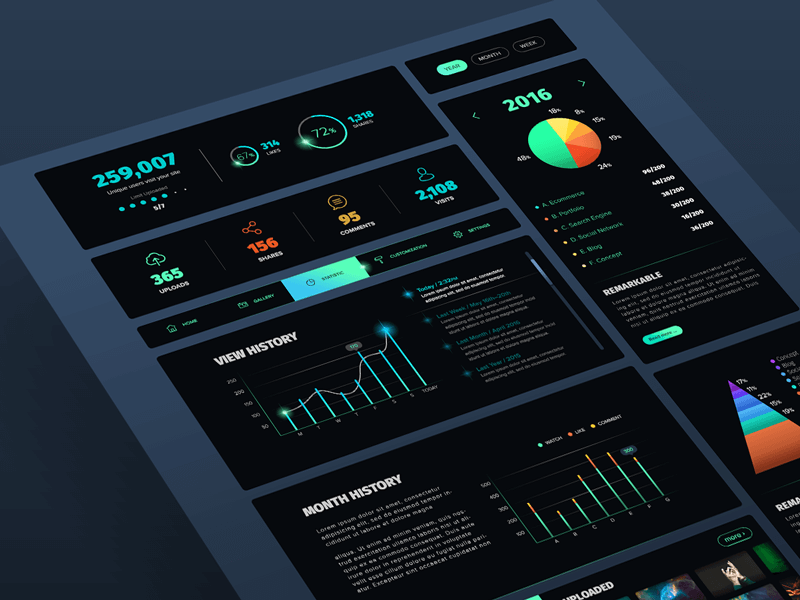 Black UI kit PSD