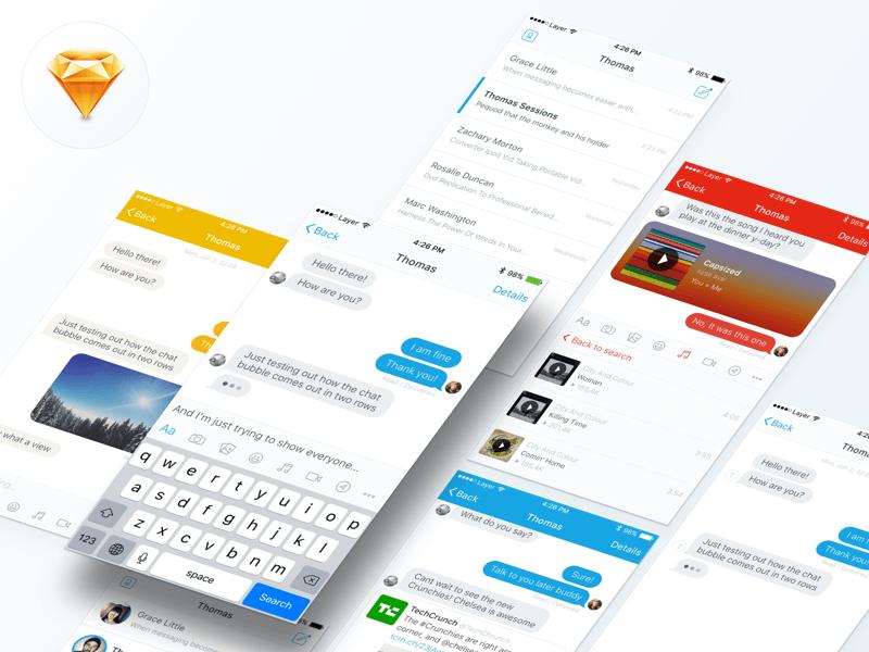 Messaging UI Kit Sketch app