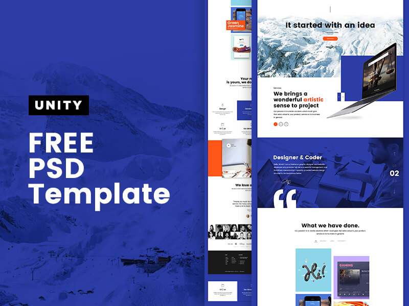 Unity Template PSD | Free PSDs & Sketch App Resources for Designers ...