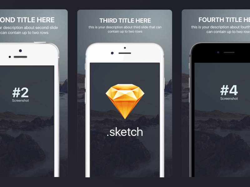 Appstore screenshots template for iPhone sizes Sketch