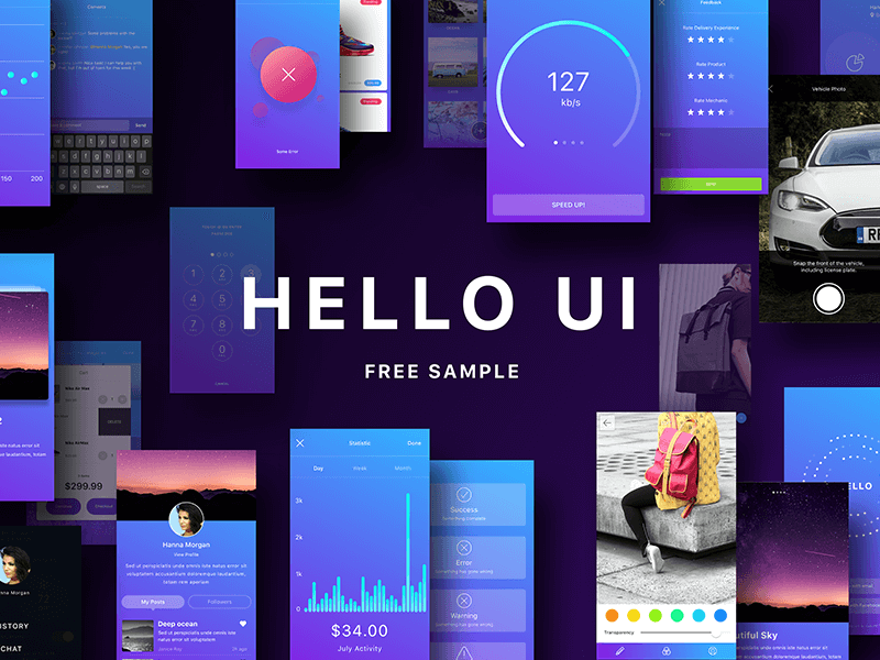 Hello UI Kit Free Sketch app