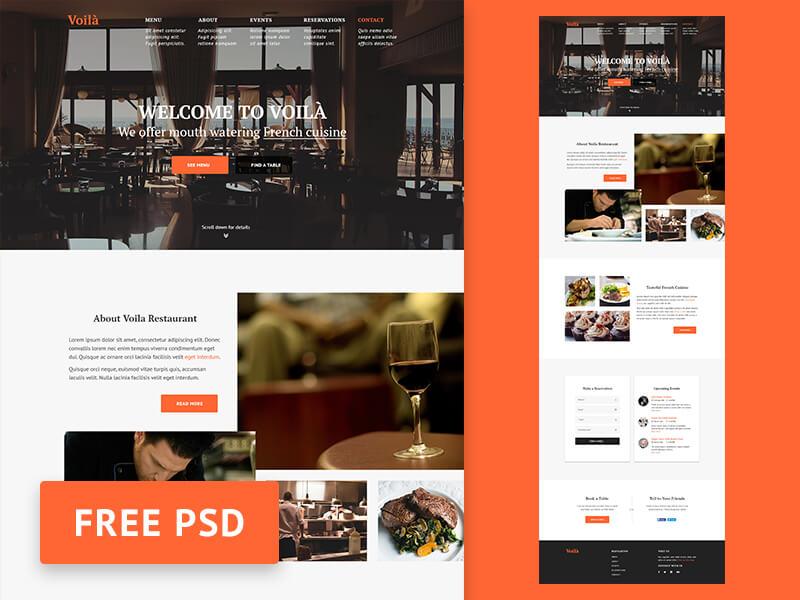 Restaurant Website Template PSD