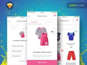 Baby Shopping app UI Kit Sketch