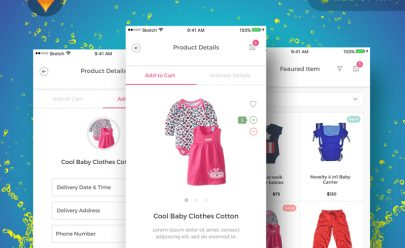 Baby Shopping app UI Kit Sketch