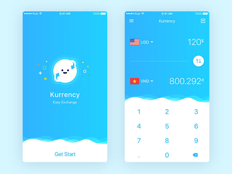 Currency app Ui Kit Sketch