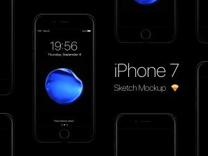 iPhone 7 Jet Black Mockup Sketch app
