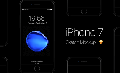 iPhone 7 Jet Black Mockup Sketch app