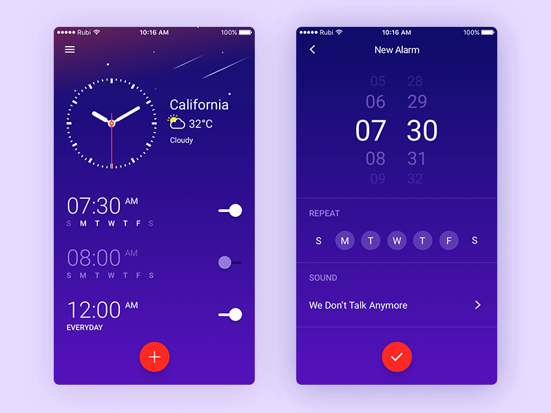 Clock app Design Sketch