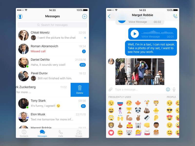 Messenger UI Kit Sketch app