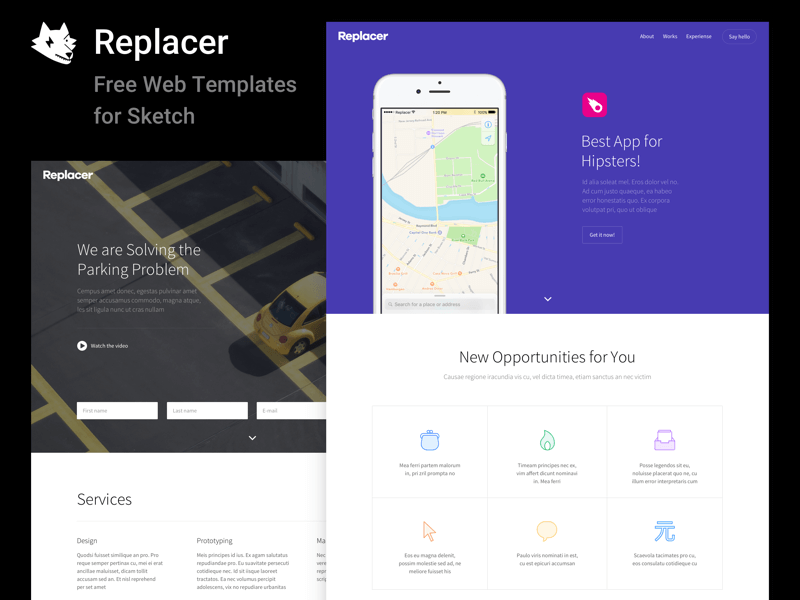 Replacer UI Kit - Free Web Templates