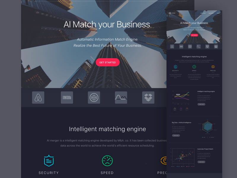 dark colored landing page sketch template