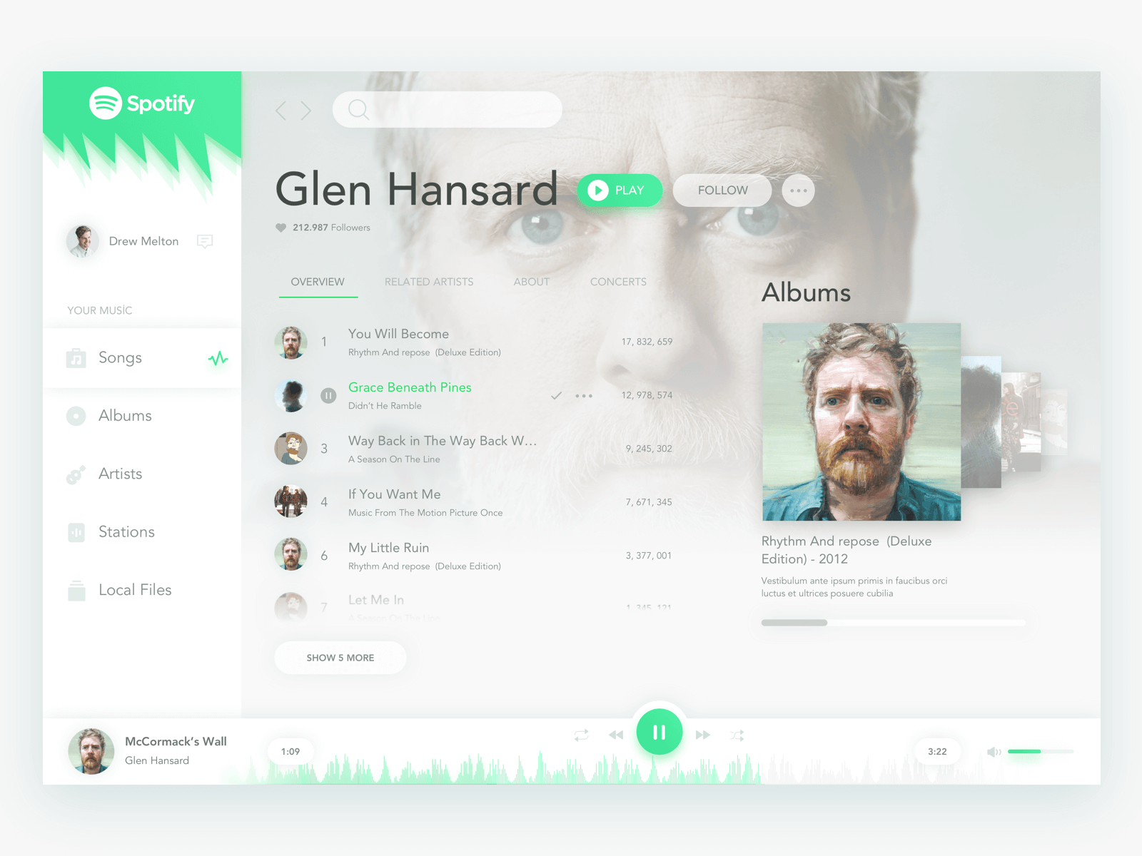 Spotify Design Free Sketch app