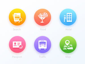 6 colorful icons PSD