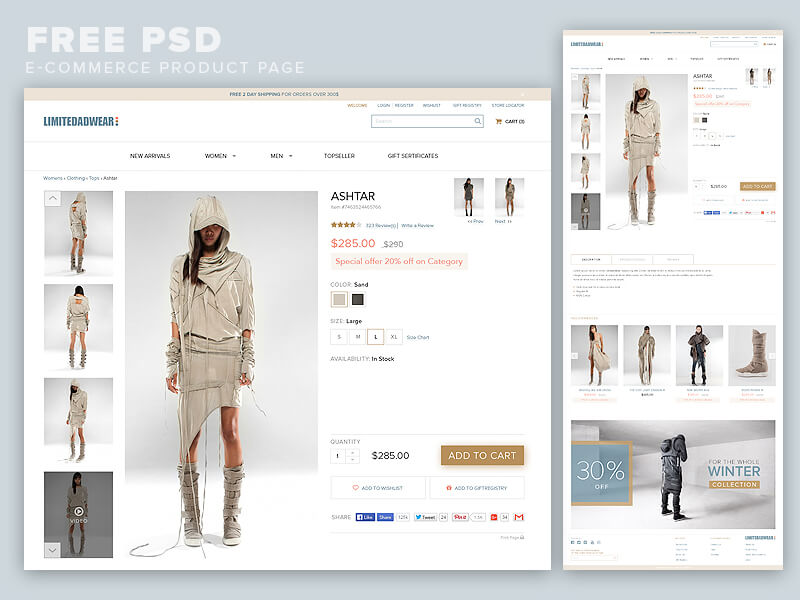 e commerce sites templates - e commerce product page psd free psds sketch app