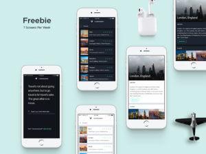 Travel app design PSD