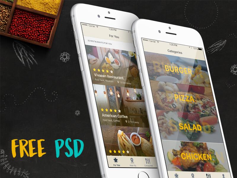 iOS Restaurant Finder App PSD
