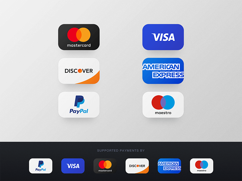 Credit Card Payments Icons PSD