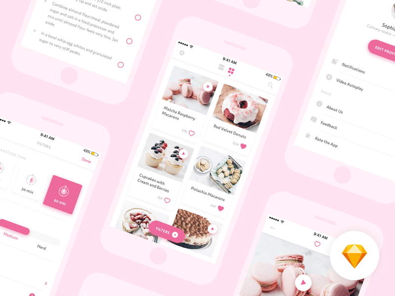 Desserts mobile app design Sketch app