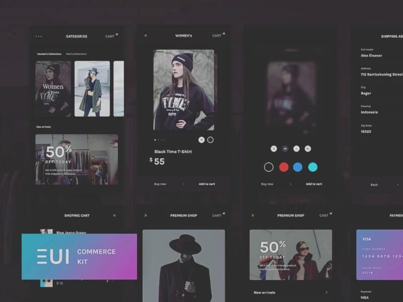E-commerce UI Kit Screens PSD