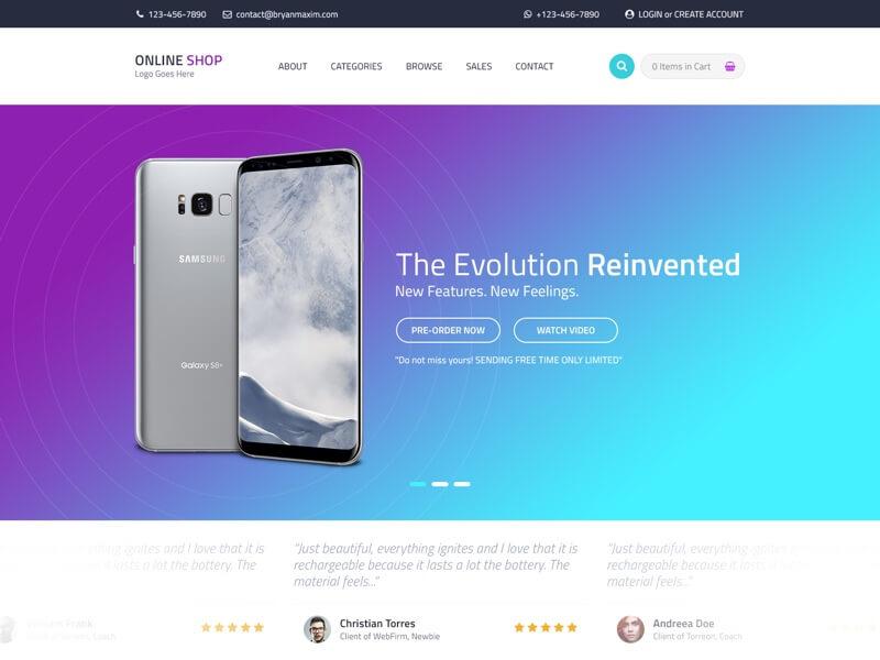 Online Shop Website Template PSD